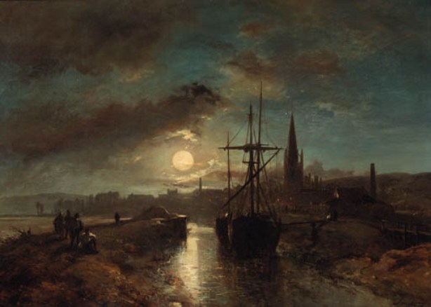 Figures on a jetty in the moonlit harbour of Harfleur by Johan Barthold Jongkind (1819-1891, Netherlands)