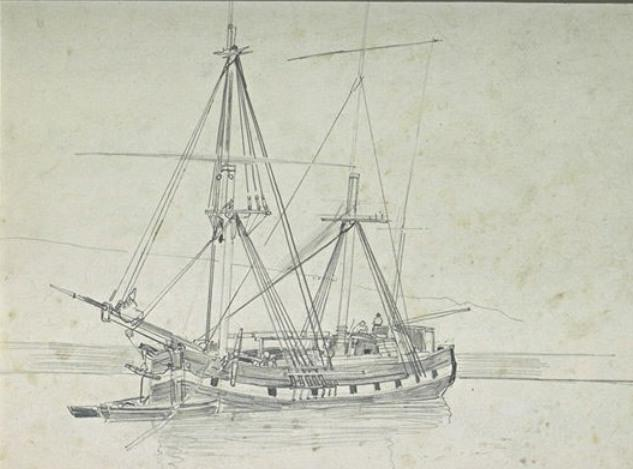 Fishing boat with two masts, anchored by Johan Barthold Jongkind (1819-1891, Netherlands)