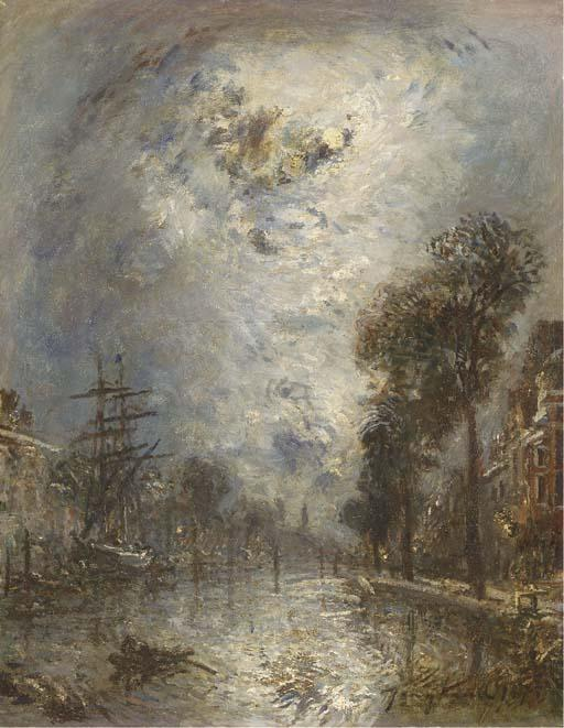 Inside the port in Rotterdam, the effect of moon by Johan Barthold Jongkind (1819-1891, Netherlands)