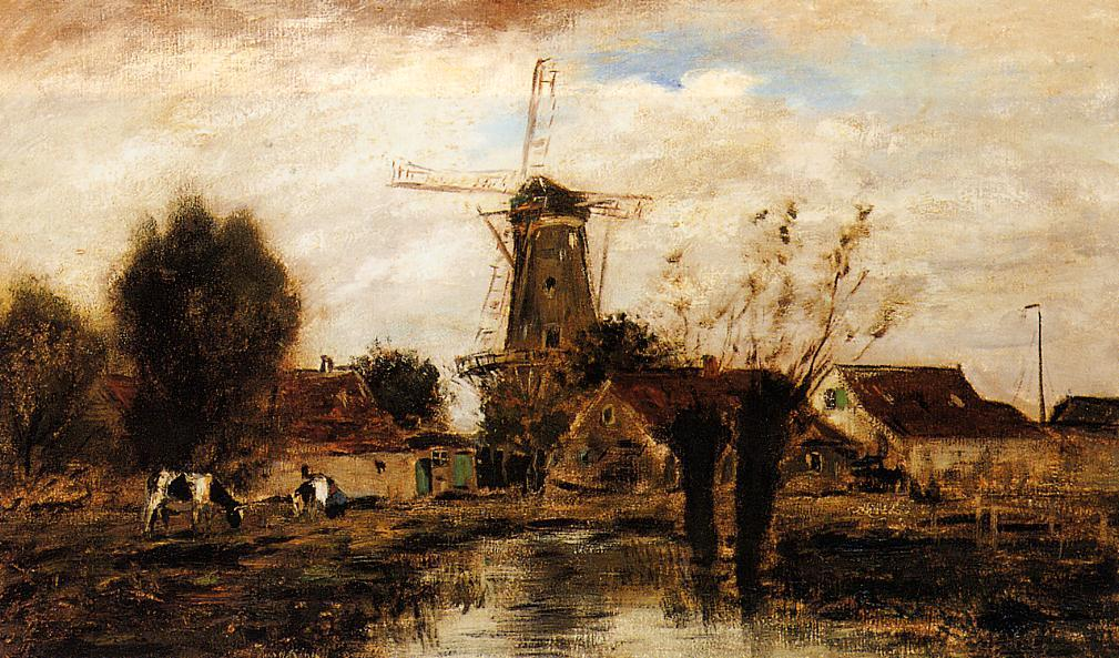 Landscape with Windmill by Johan Barthold Jongkind (1819-1891, Netherlands)
