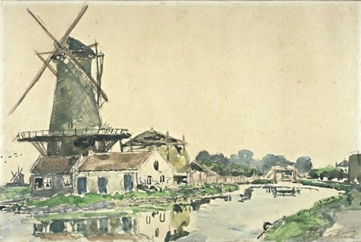 Mill in Rotterdam by Johan Barthold Jongkind (1819-1891, Netherlands)
