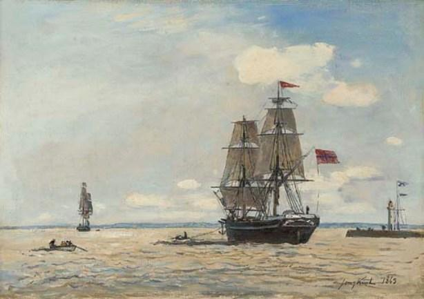 Norwegian ship leaving the port of Honfleur by Johan Barthold Jongkind (1819-1891, Netherlands)