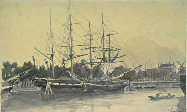 Sailboats moored in a port by Johan Barthold Jongkind (1819-1891, Netherlands)