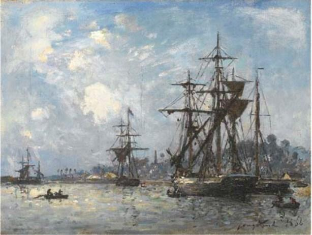 Sailing boats in Honfleur by Johan Barthold Jongkind (1819-1891, Netherlands)