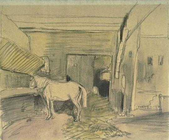 Stables with a horse, facing left by Johan Barthold Jongkind (1819-1891, Netherlands)