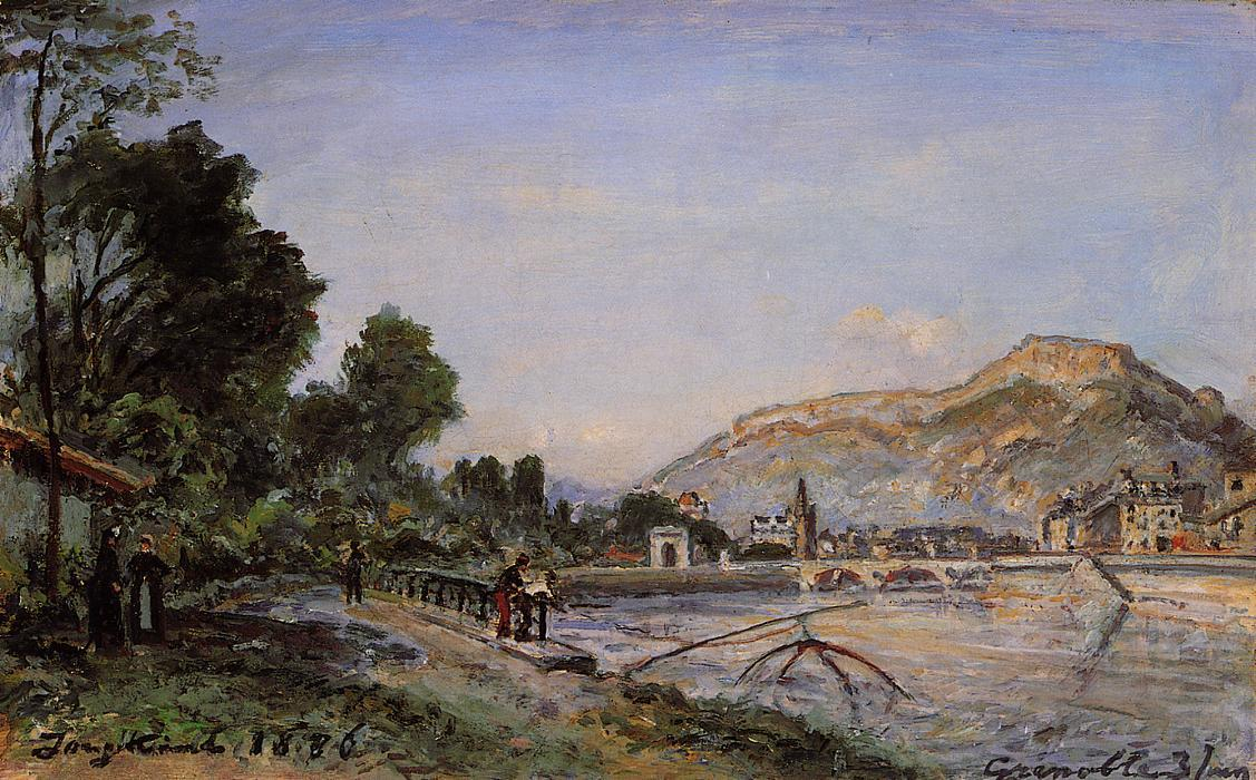 The Banks of the Isere at Grenoble in Spring by Johan Barthold Jongkind (1819-1891, Netherlands)
