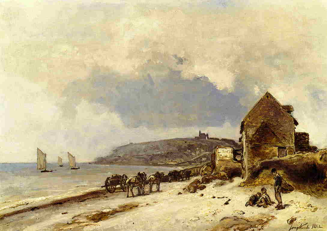 The Beach at Sainte-Adresse by Johan Barthold Jongkind (1819-1891, Netherlands) | Museum Art Reproductions | ArtsDot.com