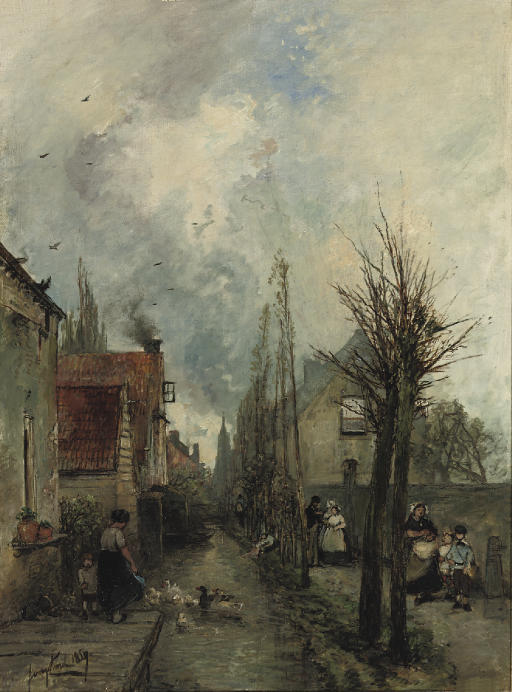 The canal, Delft by Johan Barthold Jongkind (1819-1891, Netherlands)