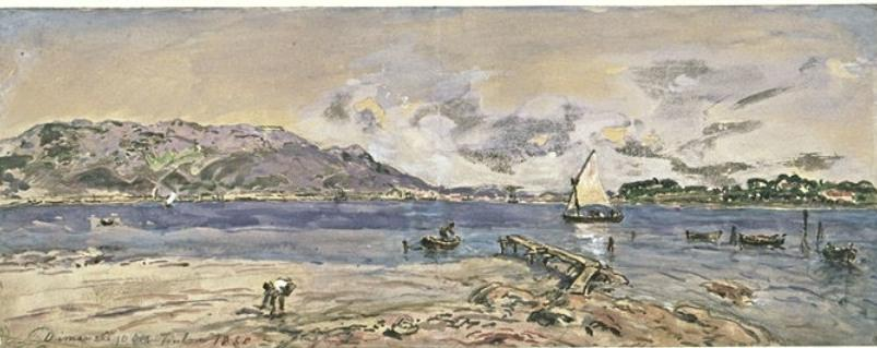 The harbor of Toulon by Johan Barthold Jongkind (1819-1891, Netherlands)