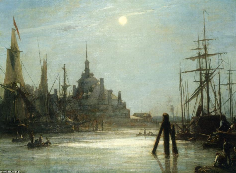 The Hoofdpoort in Rotterdam, The effect of the Moon by Johan Barthold Jongkind (1819-1891, Netherlands)