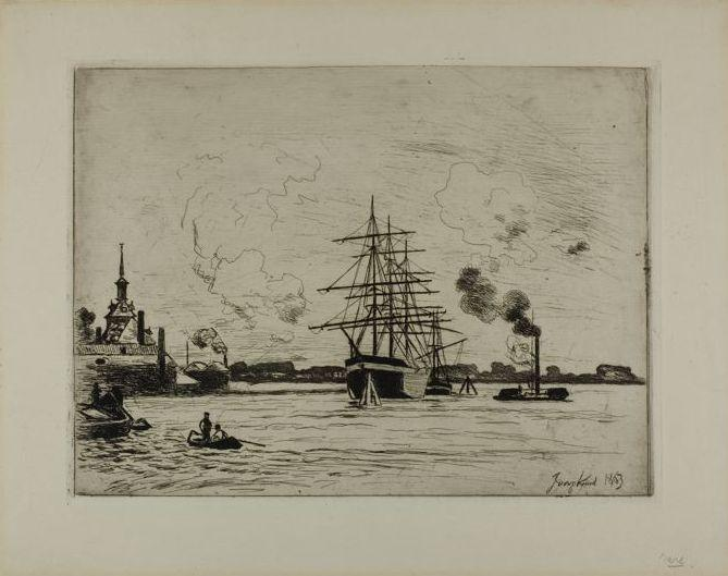 The Old Port of Rotterdam by Johan Barthold Jongkind (1819-1891, Netherlands)