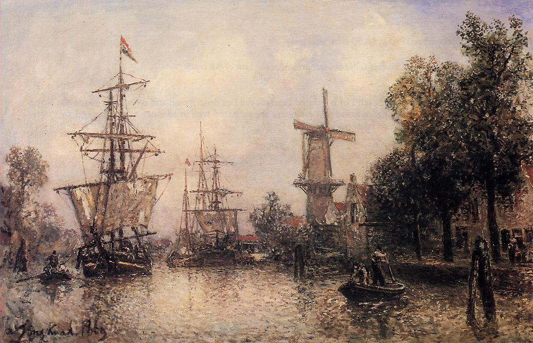 The Port of Rotterdam by Johan Barthold Jongkind (1819-1891, Netherlands)