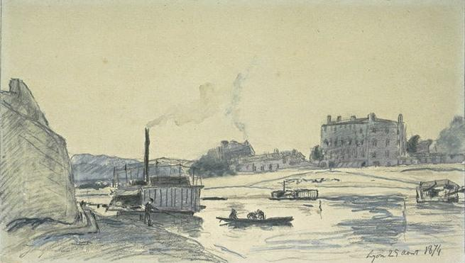 The Rhone at Lyon, with steam barges by Johan Barthold Jongkind (1819-1891, Netherlands)