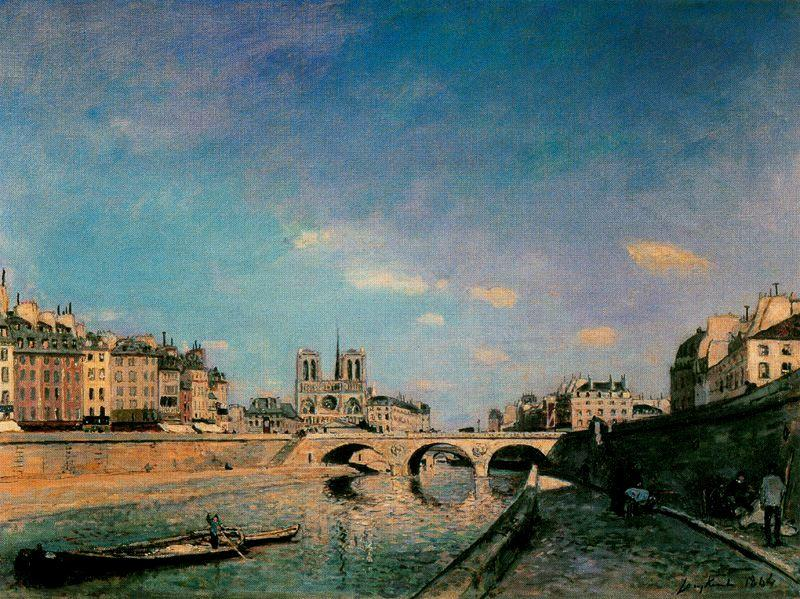 The Seine and Notre-Dame de Paris by Johan Barthold Jongkind (1819-1891, Netherlands)