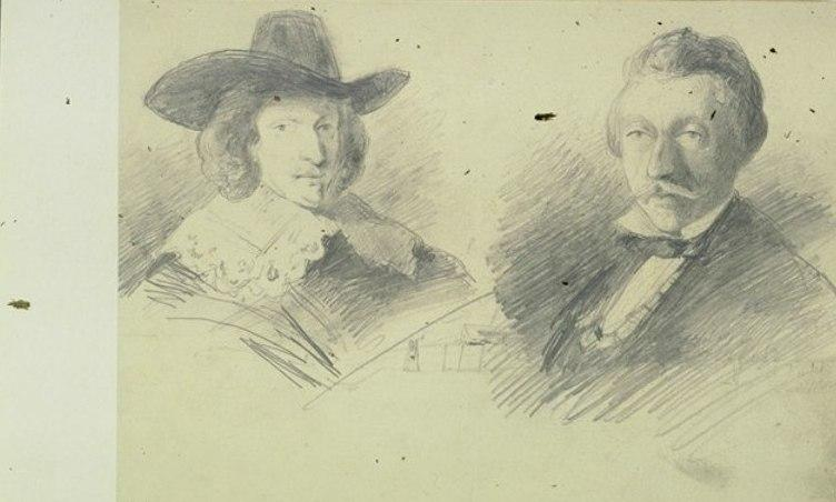 Two persons by Johan Barthold Jongkind (1819-1891, Netherlands)