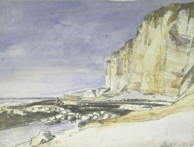 View of cliffs and the beach at Etretat by Johan Barthold Jongkind (1819-1891, Netherlands)