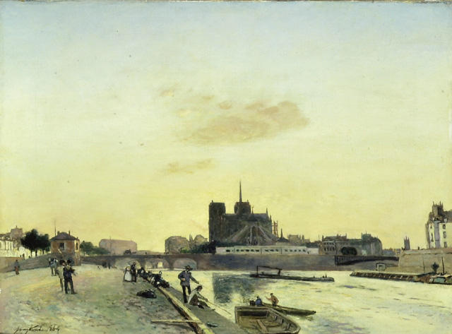 View of Notre-Dame, Paris by Johan Barthold Jongkind (1819-1891, Netherlands)