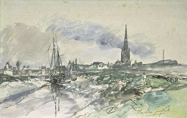 View of the port of Harfleur at low tide, with the spire of the cathedral by Johan Barthold Jongkind (1819-1891, Netherlands)