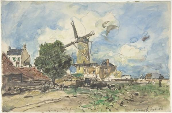 Wind Mill at Antwerp by Johan Barthold Jongkind (1819-1891, Netherlands)