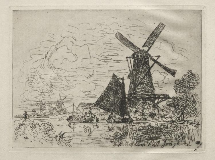 Windmills in Holland by Johan Barthold Jongkind (1819-1891, Netherlands)