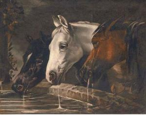 John Frederick Herring Senior - Three horses at a water trough