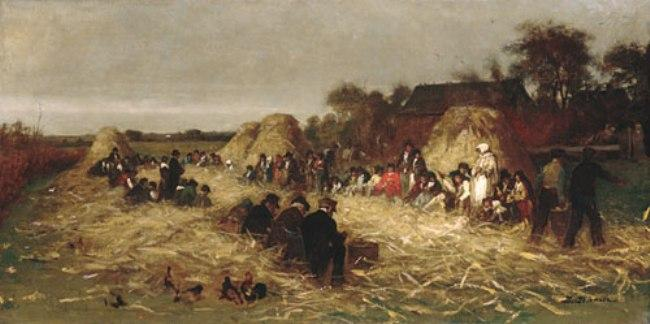 Corn Husking at Nantucket by Jonathan Eastman Johnson (1824-1906, United Kingdom) | Museum Quality Reproductions | ArtsDot.com