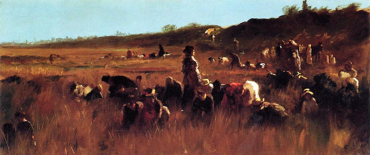 Cranberry Pickers, Nantucket by Jonathan Eastman Johnson (1824-1906, United Kingdom)