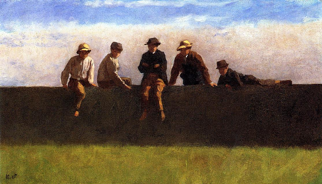 Five Boys on a Wall by Jonathan Eastman Johnson (1824-1906, United Kingdom) | Painting Copy | ArtsDot.com