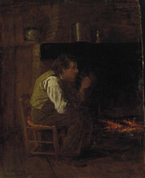 Maine Interior (Man with Pipe) by Jonathan Eastman Johnson (1824-1906, United Kingdom)