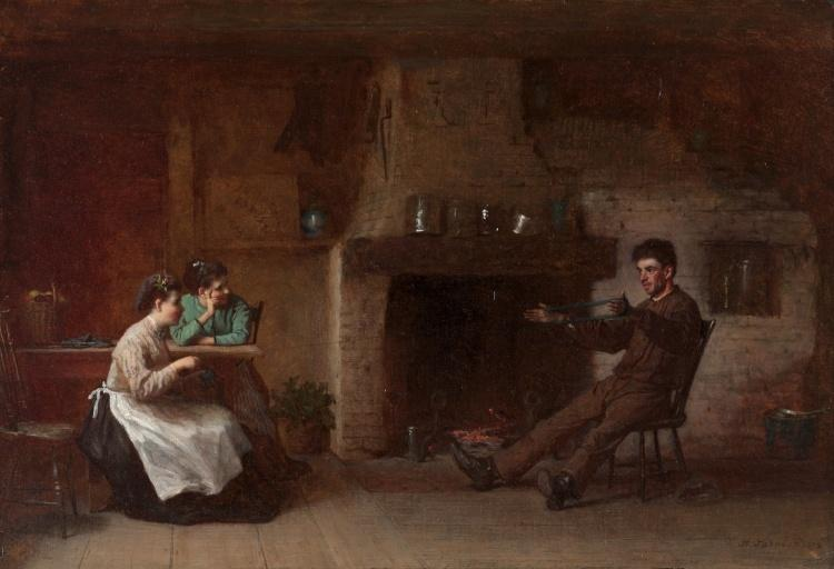 Winding Yarn (Interior of a Nantucket Kitchen) by Jonathan Eastman Johnson (1824-1906, United Kingdom)