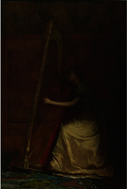 Woman Playing Harp by Jonathan Eastman Johnson (1824-1906, United Kingdom) | Museum Quality Reproductions | ArtsDot.com