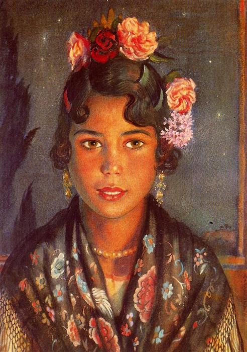 Concha, the gypsy girl by Jorge Apperley (George Owen Wynne Apperley) (1884-1960, United Kingdom)