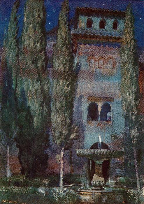 Lindaraja Yard (Night at the Alhambra) by Jorge Apperley (George Owen Wynne Apperley) (1884-1960, United Kingdom)