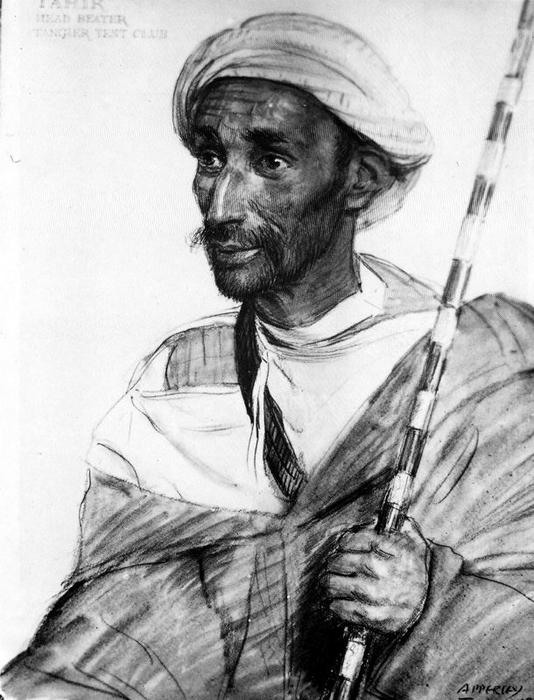 Tahir, Chief hitter of the Tangier Tent Club by Jorge Apperley (George Owen Wynne Apperley) (1884-1960, United Kingdom) | Museum Art Reproductions | ArtsDot.com