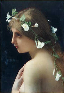 Jules Joseph Lefebvre - Nymph with Morning Glory Flowers
