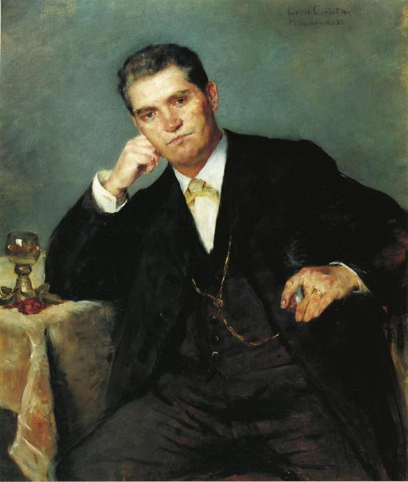 Portrait of Franz Heinrich Corinth with a Glass of Wine, Oil On Canvas by Lovis Corinth (Franz Heinrich Louis) (1858-1925, Netherlands)