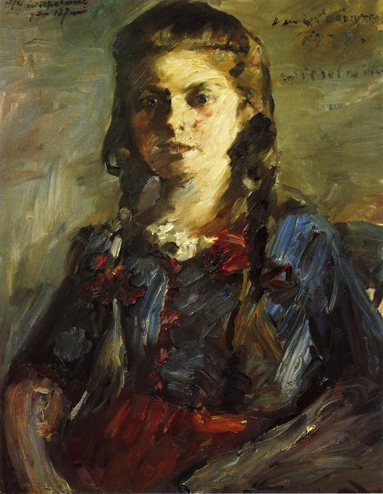 Portrait of Wilhelmine with Her Hair in Braids, Oil On Canvas by Lovis Corinth (Franz Heinrich Louis) (1858-1925, Netherlands)
