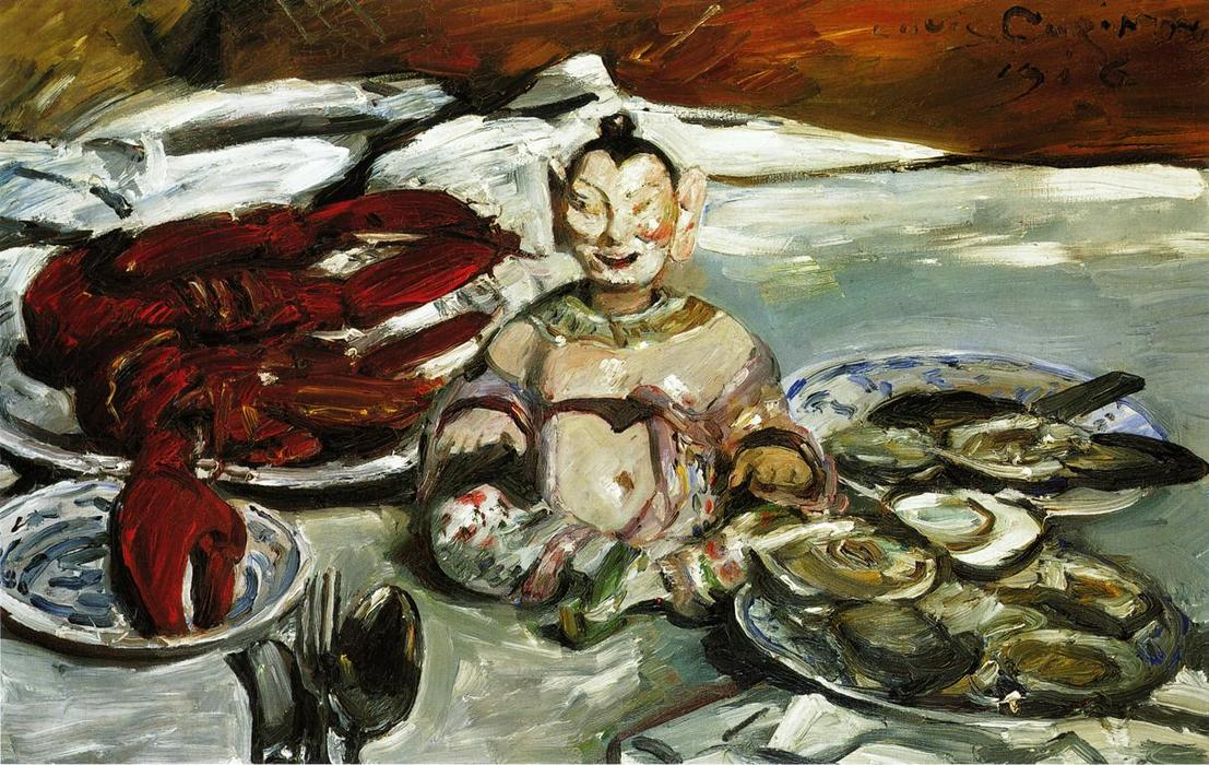 Still Life with Buddha, Lobsters and Oysters, Oil On Canvas by Lovis Corinth (Franz Heinrich Louis) (1858-1925, Netherlands)