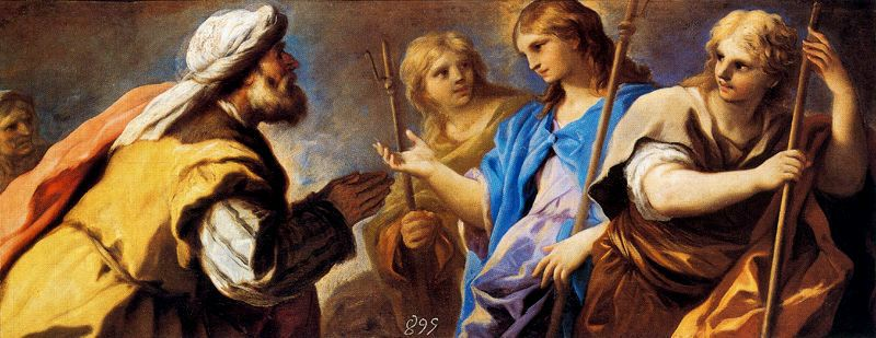 Abraham worshipping three angels by Luca Giordano (1634-1705, Italy)