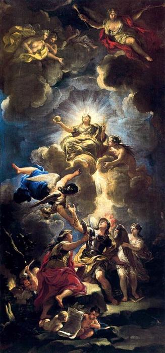 Allegory of Divine Wisdom 1 by Luca Giordano (1634-1705, Italy)