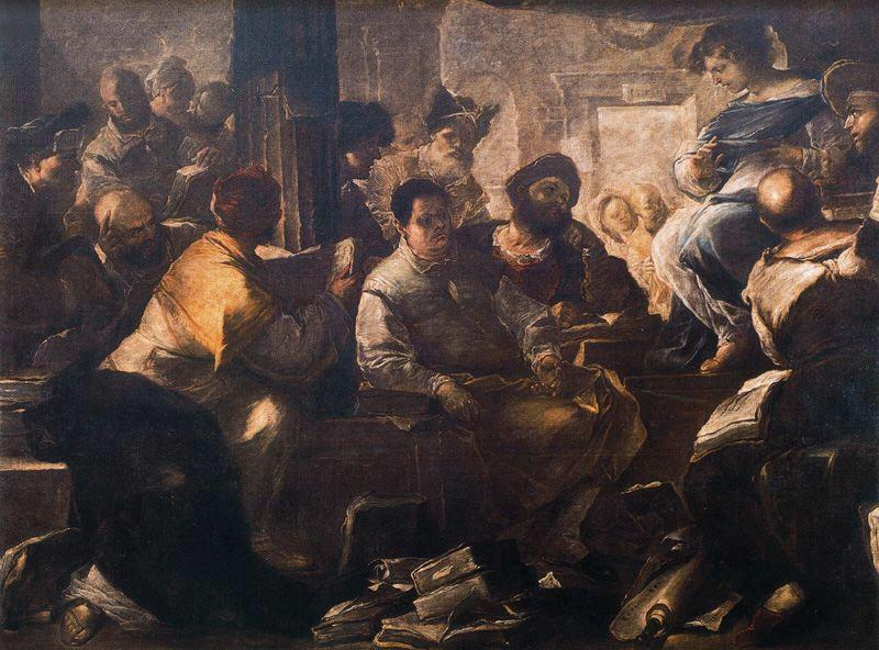 Christ among the doctors by Luca Giordano (1634-1705, Italy)