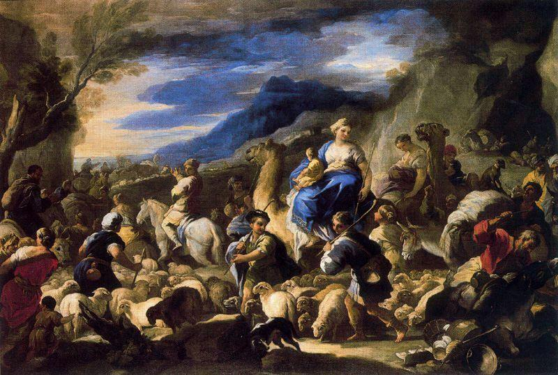 Departure of Rebecca to Cannan by Luca Giordano (1634-1705, Italy)