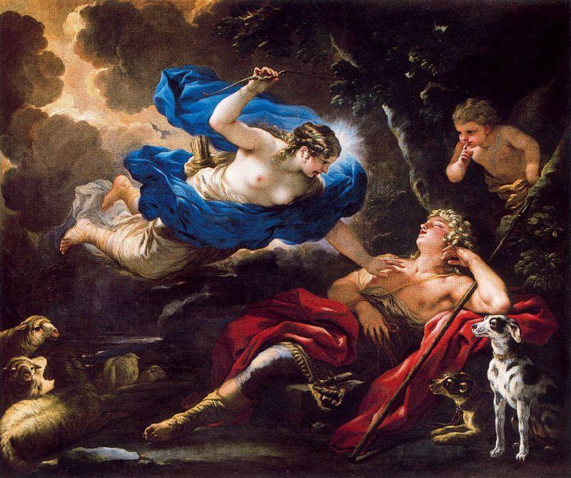 Diana and Endimione by Luca Giordano (1634-1705, Italy)