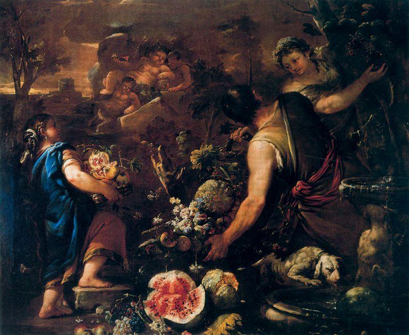Flowers and fruits with Bacchus, satyrs and other figures by Luca Giordano (1634-1705, Italy)