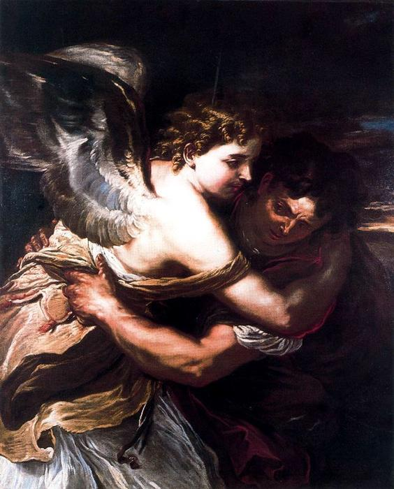 Giaccobe struggle and the Angel by Luca Giordano (1634-1705, Italy)