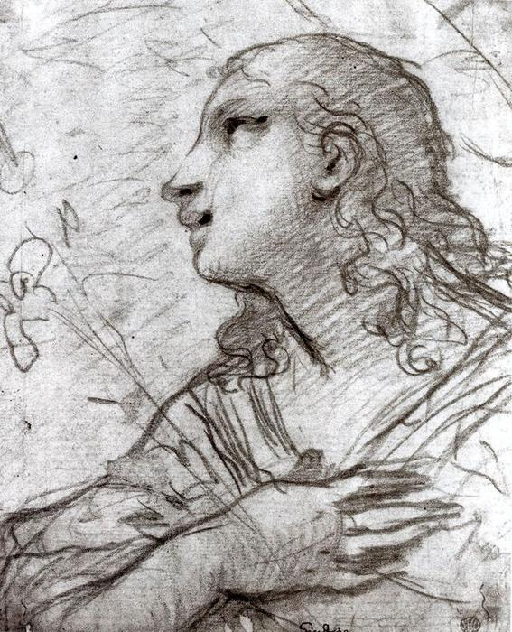 Head of Angel by Luca Giordano (1634-1705, Italy)