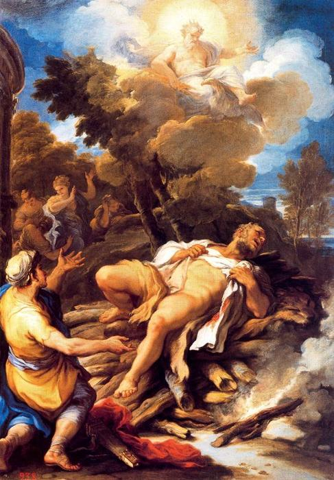 Hercules on the pyre 1 by Luca Giordano (1634-1705, Italy)