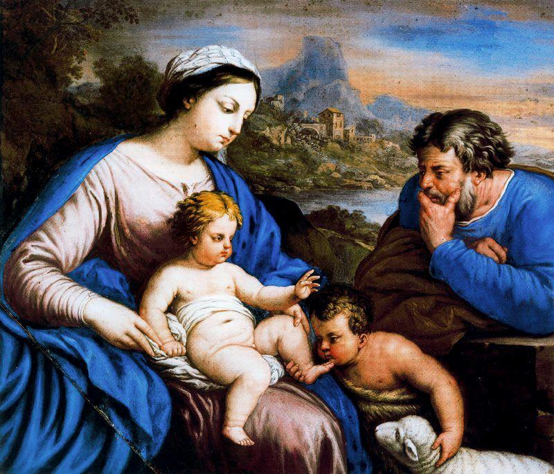 Holy Family with St. John by Luca Giordano (1634-1705, Italy)
