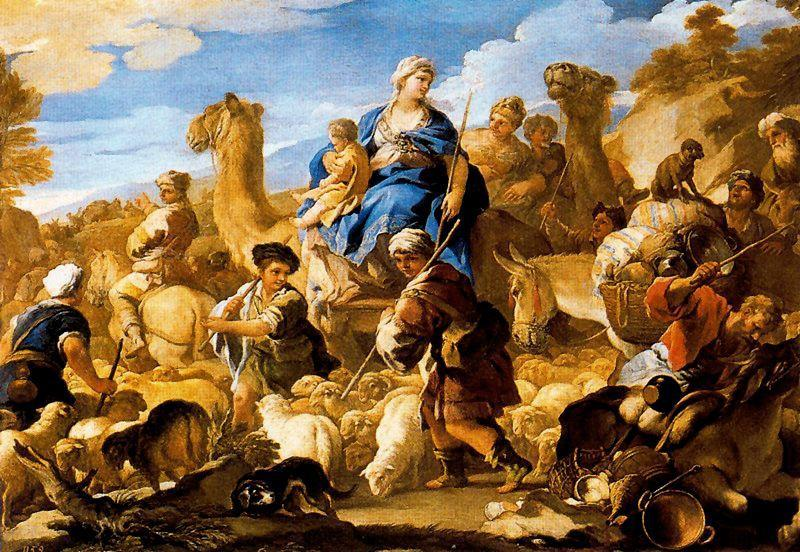 Jacob's journey to Canaan by Luca Giordano (1634-1705, Italy)