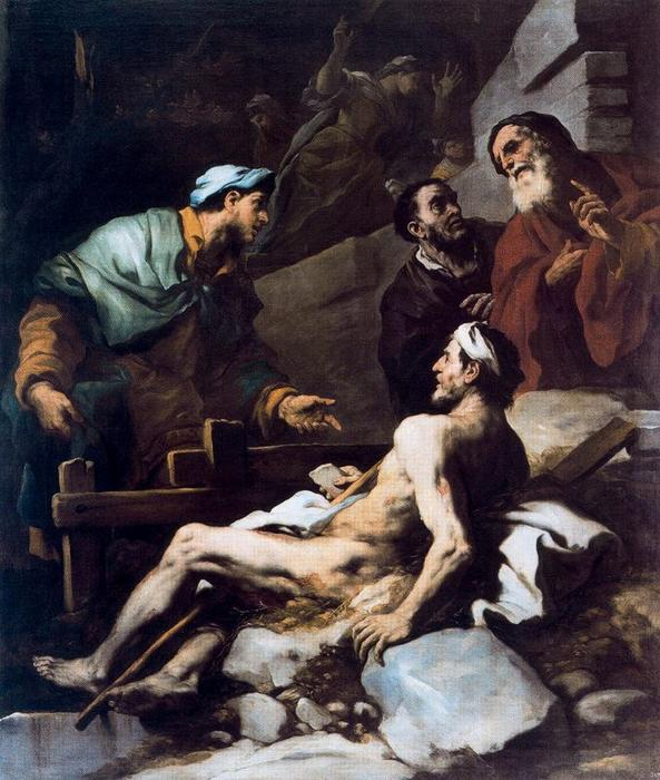 Job on his dunghill by Luca Giordano (1634-1705, Italy)